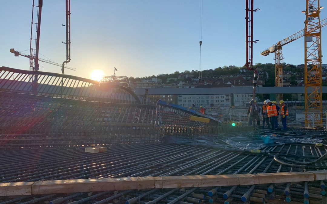 Betonage Kelchstützen, Bodenplatte Mai 2020